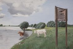 koeien bij ijssel Cow, Painting, Animals, Animales, Animaux, Painting Art, Cattle, Paintings, Animal