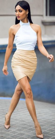 #Street #Fashion | White Halter Top + Nude Leather Skirt + Nude Pumps | Micah Gianneli