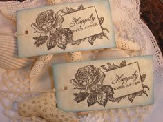 Wedding Tags Vintage Inspired Tiffany Rose Set by LazyDayCottage, $5.50