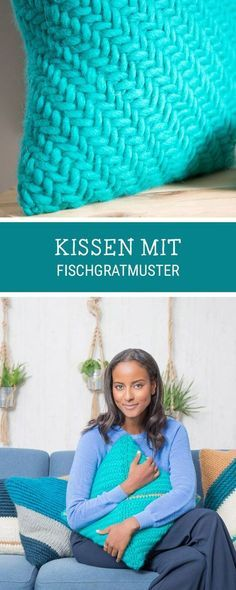 Kostenlose Anleitung für ein Strickkissen mit Fischgrätenmuster, Kissen stricken in Fischgräte / knitting pattern for cushion, knitted with herringbone pattern via DaWanda.com