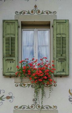 Exterior window shutters ideas flower boxes 15 ideas for 2019 Window Box Flowers, Window Boxes, Window Box Plants, Window Shutters, Old Doors, Windows And Doors, Garden Windows, Window Dressings, Architecture Details