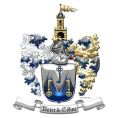Heraldry: Maier family Coat of Arms by Serge Averbukh Design Studio) for ProHeraldica (USA) Life After Marriage, Military Challenge Coins, Estonia Travel, Family Crest, Coat Of Arms, Family History, Finding Yourself, Lion Sculpture, Workshop