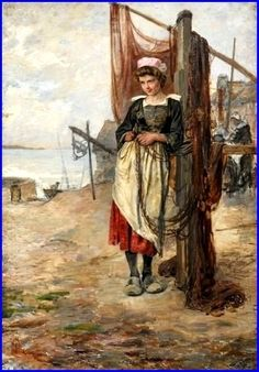 """""""Jeune bretonne ramandant les filets"""",  huile sur toile. Collection privée"""