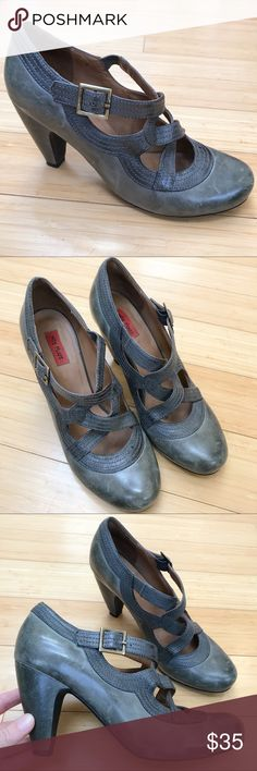MIZ MOOZ distressed gray/ green Soho pumps, 9.5. Beautiful pair of gray green Soho pumps heels by Miz Mooz, size 9.5. Pre loved but still good condition, the leather does have some distressed marks. Heel height is 3.5 inches. Super cute and comfortable shoes! Miz Mooz Shoes Heels
