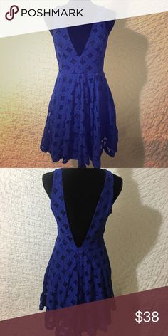 Royal Blue Lace Dress with Plunge back LOVE this dress so much. So sexy but cute at the same time. Plunging neckline and back! This is a size large but would also fit Medium ! finn&colver Dresses Mini