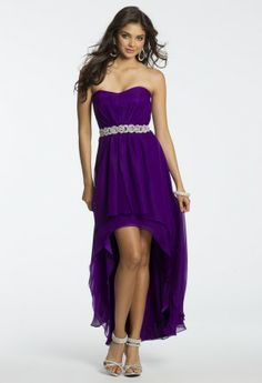 Chiffon High Low Dress with Beaded Band from Camille La Vie and Group USA #homecomingdresses #homecoming