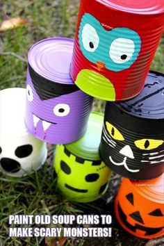 DIY Monster Cans halloween halloween decorations halloween crafts halloween ideas diy halloween halloween party decor halloween craft halloween craft ideas halloween kids crafts halloween kids diy Do this ahead and play a bowling game at Halloween party? Classroom Halloween Party, Fröhliches Halloween, Halloween Karneval, Halloween Activities For Kids, Halloween Party Games, Holidays Halloween, Halloween Decorations, Homemade Halloween, Halloween Buckets