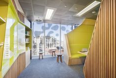 Centre of Workplace Leadership, University of Melbourne features green, technology-enabled collaboration booths with custom joinery forming unique, angular walls. University Of Melbourne, Green Technology, Joinery, Workplace, Collaboration, Leadership, Centre, Walls, Education