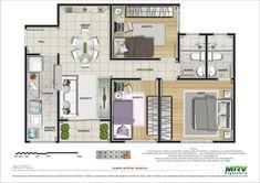 plantas de apartamento 3 quartos 5