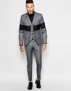 Image 1 of Religion X Noose & Monkey Charcoal Suit with Panel Detail in Skinny Fit