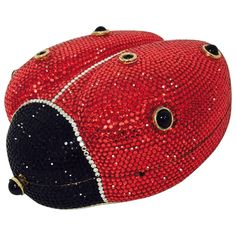 Vintage Judith Leiber Swarovski Crystal and Onyx Ladybug Minaudiere  | From a collection of rare vintage evening bags and minaudières at https://www.1stdibs.com/fashion/handbags-purses-bags/evening-bags-minaudieres/