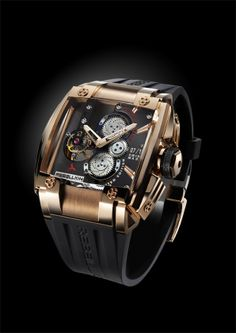 REB-5 with red gold case. SOLD OUT! The REB-5 features a mechanical tour billion movement and twin mainspring barrels to provide seven days of power.  For more information, please visit: http://www.rebellion-timepieces.com/collection-reb-5-tourbillon-manufacture.php#1