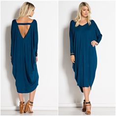 Maxi Dress - Teal Deep Back Cut Out Dress - v-neck 95%RAYON 5%SPANDEX Made in U.S.A. Dresses Maxi