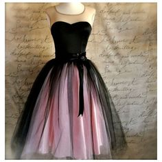 Black and pink tutu skirt for women. Ballet glamour. Retro look tulle... ❤ liked on Polyvore featuring skirts, tulle tutu, ballerina tutu, tulle skirt, pink and black skirt and ballet tutu
