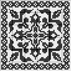 Square 01 | Free chart for cross-stitch, filet crochet | Chart for pattern - Gráfico