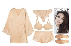 """Nude Moment"" by chiaral95 ❤ liked on Polyvore featuring beauty, La Perla, Simone Perele, Frette and nudelip"