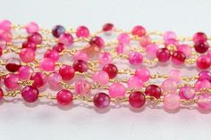 Multi Pink Zead 24k Gold Plated Rosary Chain 102050 feet