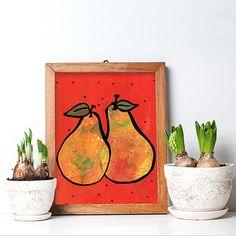 Pears Art Print - Yellow Orange Kitchen or Dining Room Decor - Colorful Modern Wall Art - Vegetarian or Fruit Lover Gift Art Decor, Room Decor, Orange Kitchen, Orange Background, Modern Wall Art, Medium Art, Mixed Media Art, Black Dots, Original Art