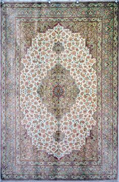 QUM pure Silk Carpet Silk Persian Rug | Exclusive collection of rugs and tableau rugs - Treasure Gallery QUM pure Silk Carpet Silk Persian Rug You pay: $5,900.00 Retail Price: $21,000.00 You Save: 72% ($15,100.00) Item#: 1223 Category: Small(3x5-5x8) Persian Rugs Design: Mohammadi Size: 200 x 130 (cm)      6' 6 x 4' 3 (ft) Origin: Persian Foundation: Silk Material: Silk Weave: 100% Hand Woven Age: Brand New KPSI: 900