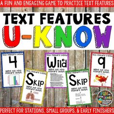 Nonfiction Text Features Game for Literacy Centers