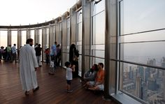 The observation deck, on the 124th floor, is the highest in the world.