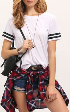 White Crew Neck Black striped Sleeve Casual T-shirt. Fantastic outfit with denim short + fannel shirt. So casual and so stylish! US$8.99 for white T-shirt