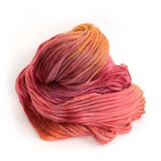 Superchunky British wool pencil roving hand dyed in shade Sunset Party by Perran Yarns