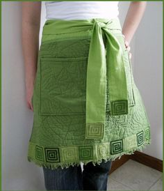 quilted garden green apron