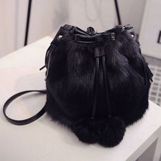 black fur bag| $13.85  nu goth pastel goth grunge punk gyaru fachin bag furry purse accessories under20 under30 rosewholesale