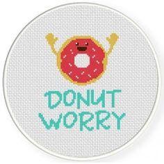 Donut Worry Cross Stitch Illustration