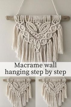 macrame wall hanging step by step Macrame Wall Hanging Patterns, Macrame Plant Hangers, Macrame Art, Macrame Design, Macrame Projects, Macrame Knots, Free Macrame Patterns, Macrame Jewelry, Micro Macramé