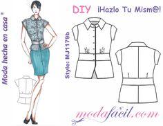 Moldes de Blusa de manga corta y banda en cintura mj1179b
