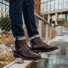 Men& Brown Captain Lace-Up Boot - Thursday Boot Company Brown Boots Outfit, Mens Brown Boots, Dress With Boots, Casual Boots, Mens Work Boots, Dress Casual, Outfit Hombre Formal, Mens Fall Outfits, Mens Boots Fashion
