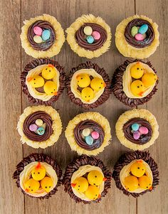 Chicks and Eggs in a Nest Easter Cupcake Combo Pink Happy Birthday, Happy Birthday Candles, Happy Birthday Balloons, Easter Cupcakes, Easter Desserts, Eggs In A Basket, Speckled Eggs, Egg Nest, Lucky To Have You