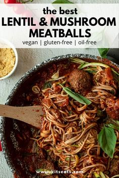 These Vegan Meatballs are healthy and gluten-free! They are incredibly easy to make, using nutritious and affordable ingredients like lentils and mushrooms. These meat-free meatballs are perfect served with spaghetti, zoodles and a rich tomato bolognese sauce.
