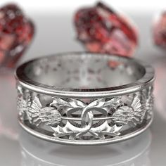 Thistle Ring Band 925 Sterling Silver Scottish Ring Unique