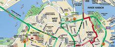 Trolley Tour map of Boston