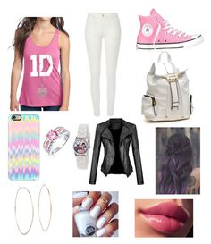 """""""Going to school with 1D"""" by priyasingh117 ❤ liked on Polyvore featuring moda, River Island, Converse, Dasein, Casetify, Bling Jewelry, Michael Kors y Accessorize"""
