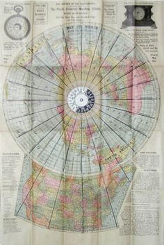 World Time Clock Map  with Polar Hour Circle Volvelle, 1901