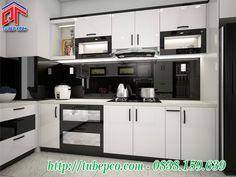 Mẫu tủ bếp hiện đại với thiết kế trang thiết bị phụ kiện tiện ích