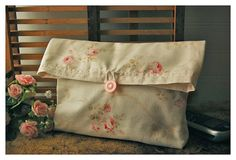 Pink Roses Clutch Handmade Shabby Chic Wedding Large by hoganfe, $24.00