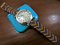 Friendship bracelet watch strap. Definitely a #diy requiring lots of patience! But awesome result.