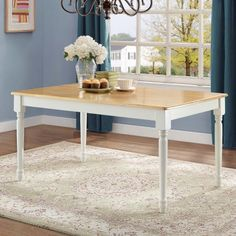 Free Shipping. Buy Better Homes and Gardens Autumn Lane Farmhouse Dining Table, White and Natural at Walmart.com $116