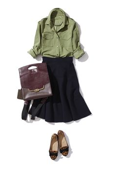 Pea green shirt with black skirt....add a cute leopard print shoe