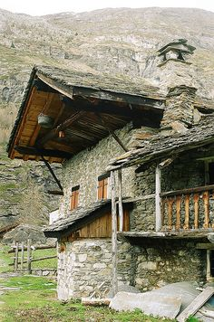 Rustic stone mountain chalets are found all throughout the alpine region - this one is in St Foy Tarentaise, Val d'Isere