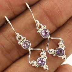 Designer Earrings 925 Solid Sterling Silver Natural AMETHYST Gemstones Wholesale #Unbranded #DropDangle