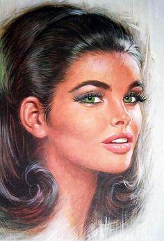 Paperback & Pulp Art Pin-Up & Glamour Art Pencil Portrait, Portrait Art, Vintage Portrait, Beautiful Green Eyes, Pretty Green, Portraits, Pulp Art, Eye Art, Pin Up Art