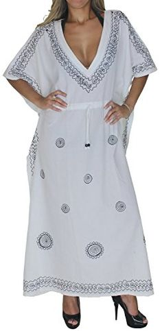 La Leela 5 In 1 Caftan Top/Roomy /Cocktail Dress/Bridesmaid/Maternity Gift White *** Click image for more details. Maternity Swimwear, Maternity Wear, Maternity Dresses, Caftan Dress, Kimono, Swimsuit Cover Up Dress, Beach Wear Dresses, Embroidery Dress, Night Gown