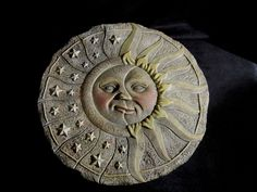 RESIN SUN and MOON WALL PLAQUE - Sun w/Sun Beams and Crescent Moon with Stars in Collectibles, Decorative Collectibles, Wall Hangings, Mirrors | eBay