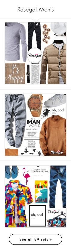 """""""Rosegal Men's"""" by salihovic-nihad ❤ liked on Polyvore featuring Belle Maison, Gucci, men's fashion, menswear, Lands' End, Jayson Home, Hollister Co., Global Views, Woolrich and FOSSIL"""